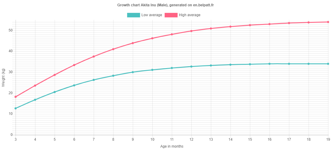 Growth chart Akita Inu male