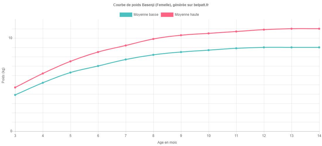 Courbe de croissance Basenji femelle