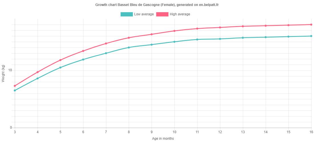 Growth chart Basset Bleu de Gascogne female