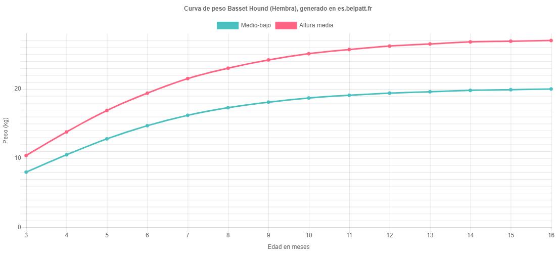 Curva de crecimiento Basset Hound hembra