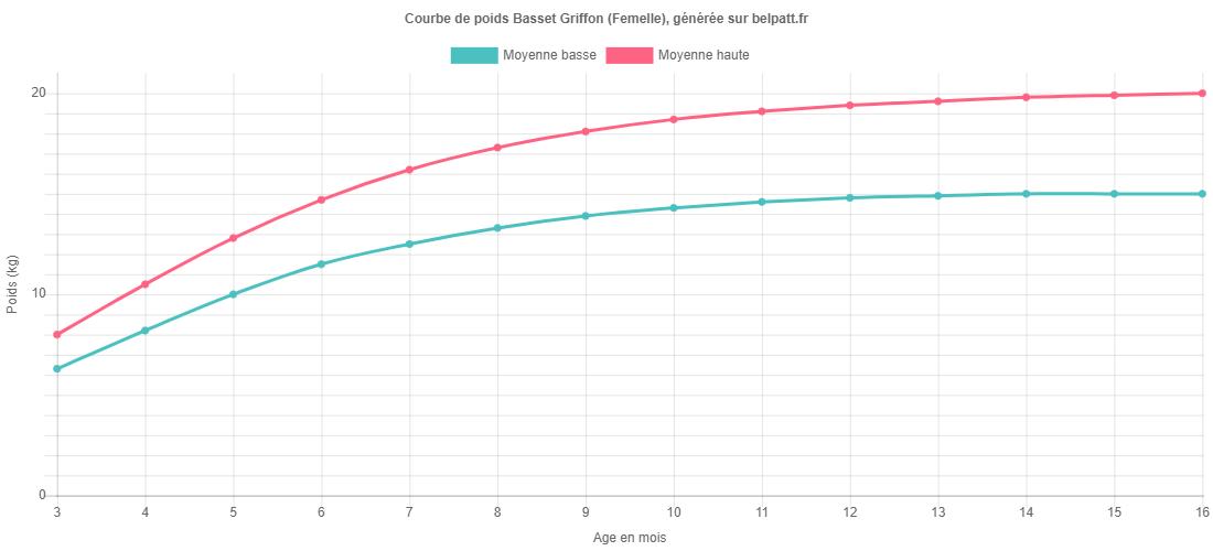 Courbe de croissance Basset Griffon femelle