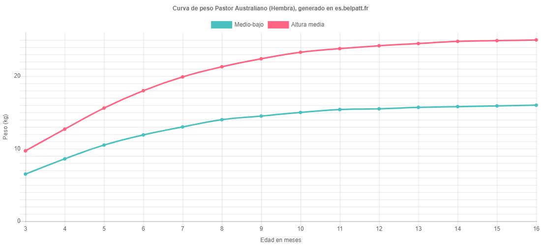 Curva de crecimiento Pastor Australiano hembra