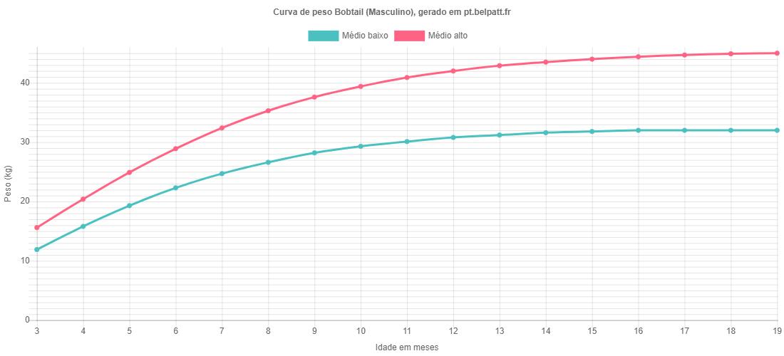 Curva de crescimento Bobtail masculino