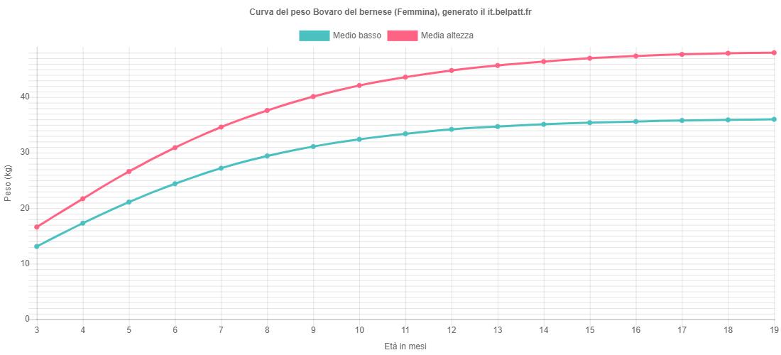 Curva di crescita Bovaro del bernese femmina