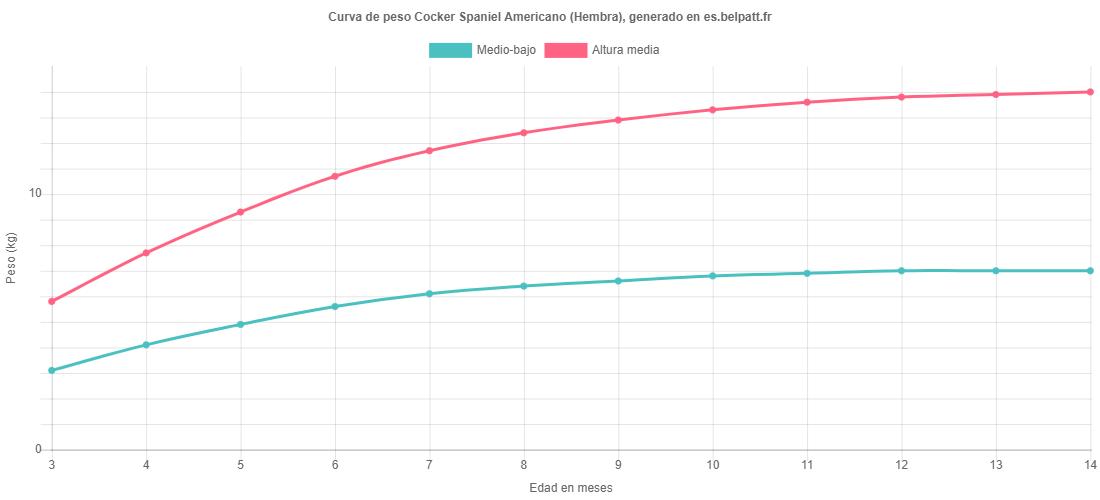 Curva de crecimiento Cocker Spaniel Americano hembra