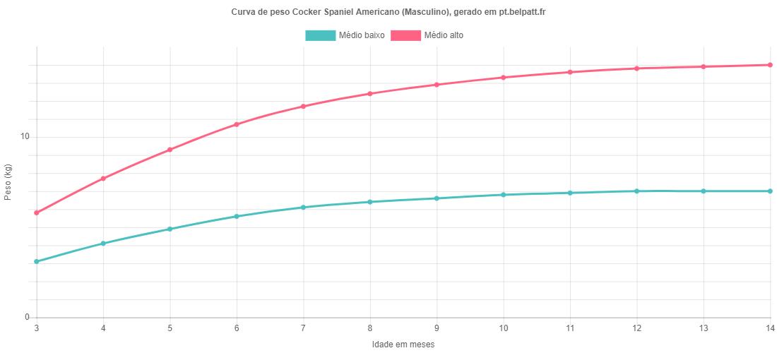 Curva de crescimento Cocker Spaniel Americano masculino