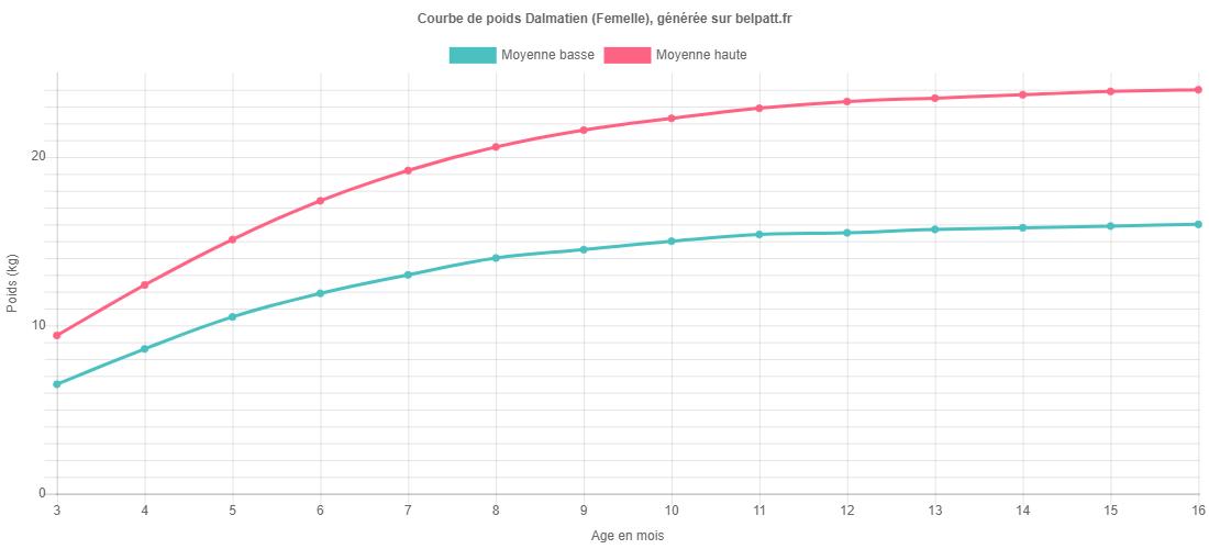 Courbe de croissance Dalmatien femelle