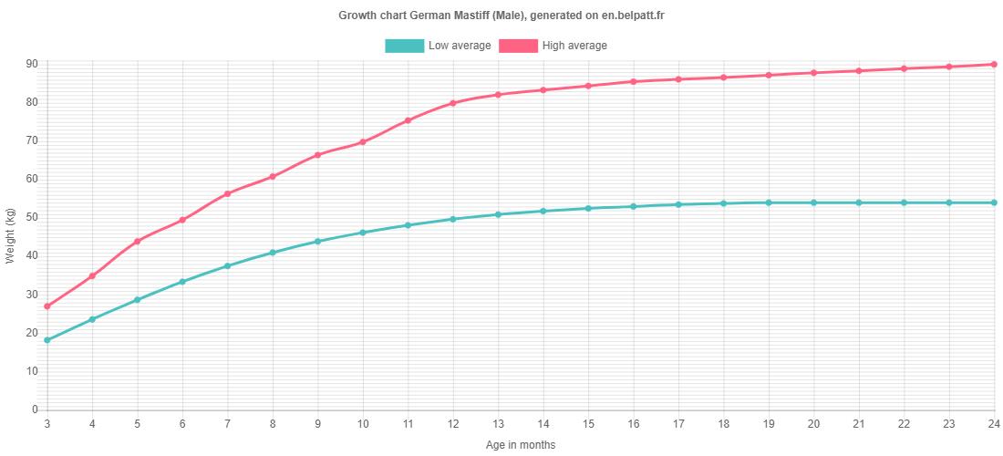 Growth chart German Mastiff male