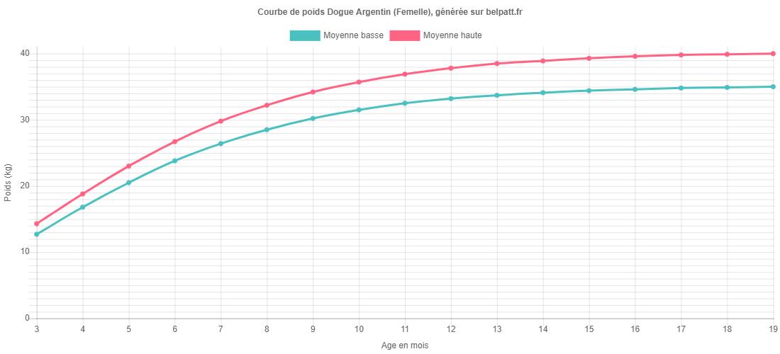 Courbe de croissance Dogue Argentin femelle