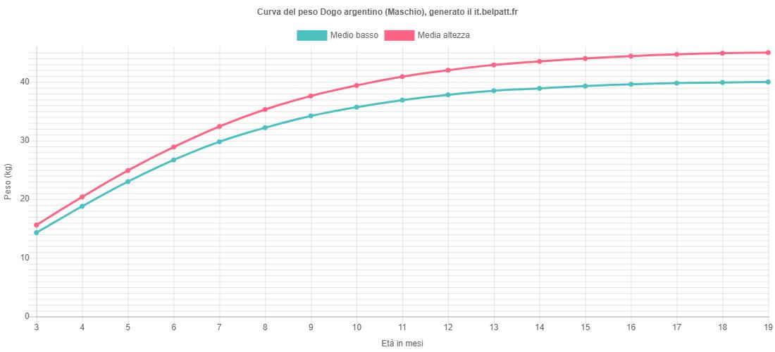 Curva di crescita Dogo argentino maschio
