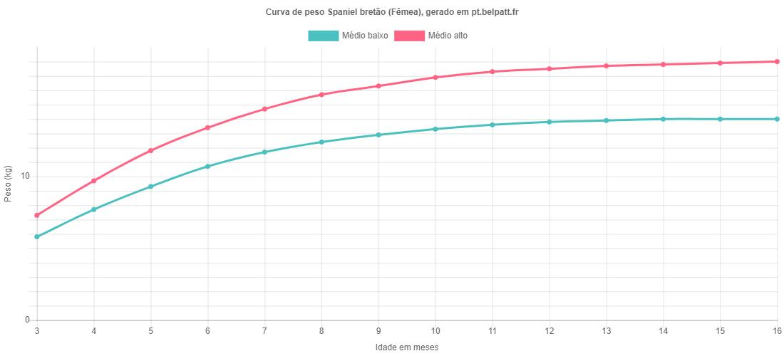 Curva de crescimento Spaniel bretão fêmea