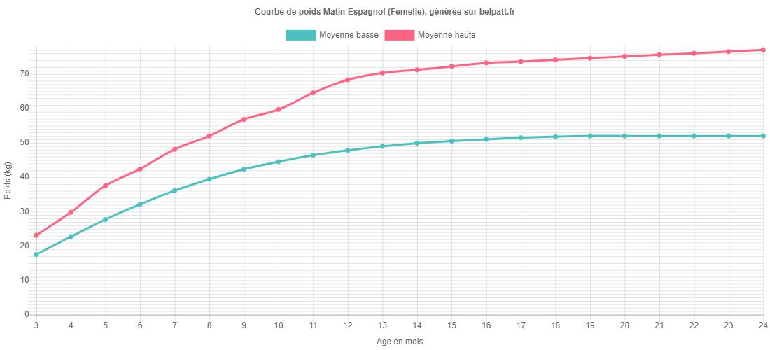 Courbe de croissance Matin Espagnol femelle