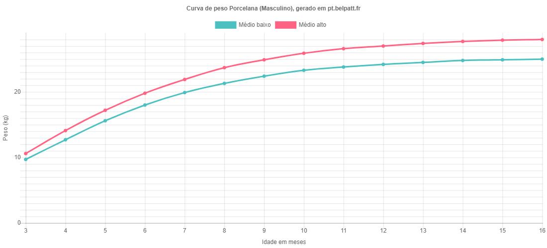 Curva de crescimento Porcelana masculino