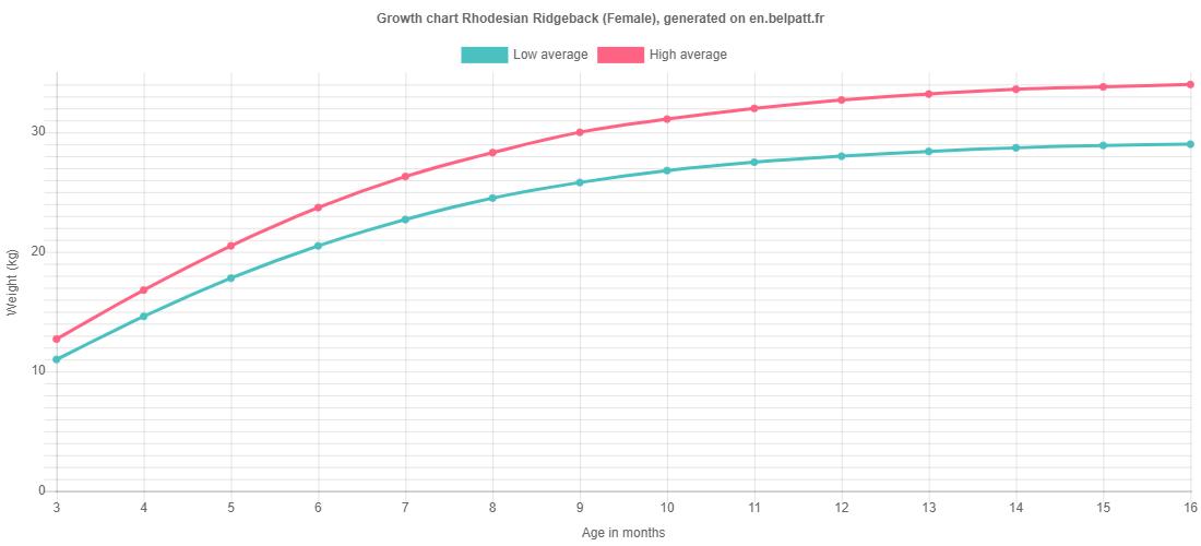 Growth chart Rhodesian Ridgeback female