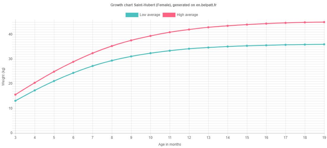 Growth chart Saint-Hubert female