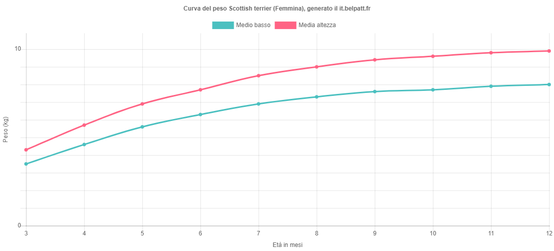 Curva di crescita Scottish terrier femmina