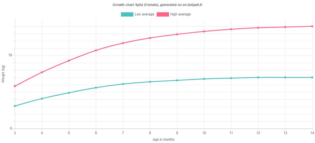 Growth chart Spitz female