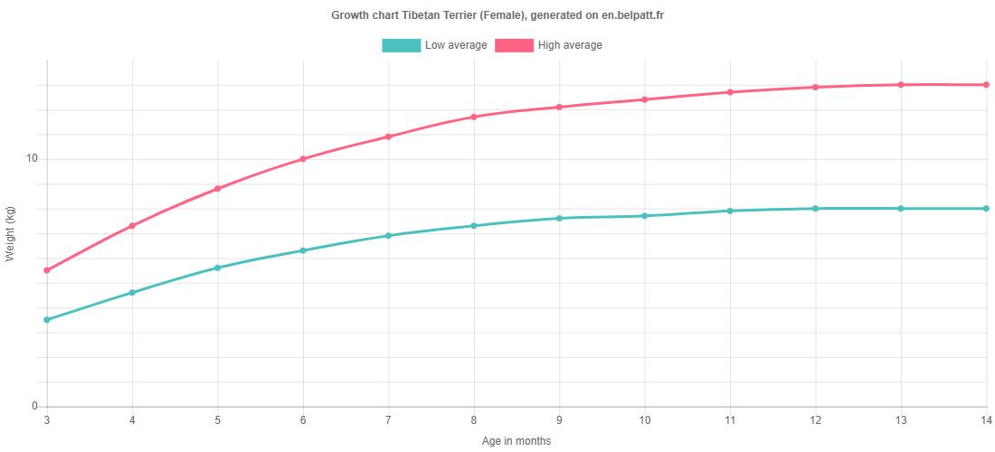 Growth chart Tibetan Terrier female